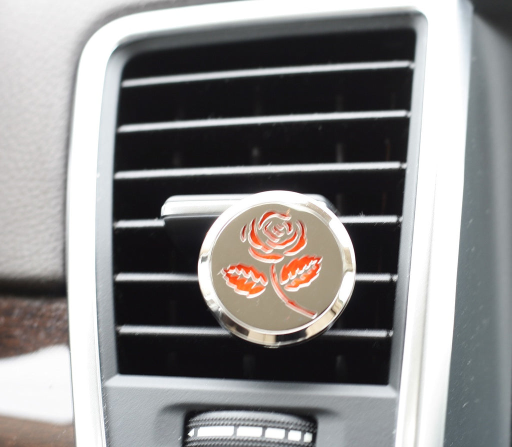 Essential Oil Car Air Freshener Diffuser - Rose model with 5ml Eucalyptus Oil
