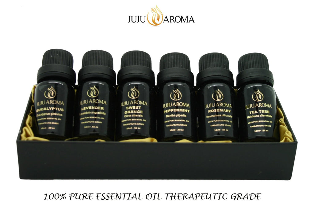 Essential Oil Gift Set by JuJu Aroma - 100% Pure Therapeutic Grade - Luxury Aromatherapy Oil Set - FREE eBook download - Lavender, Sweet Orange, Tea Tree, Peppermint, Eucalyptus, Rosemary - 6 / 10 ml Bottle Set