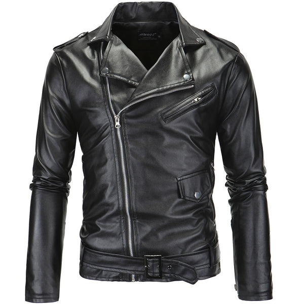 Foreign Trade Men'S Wear Men Locomotive Slim Fit Casual Fold-down Collar Oblique Zipper Leather Coat Leather Jacket 1217/Y82P63