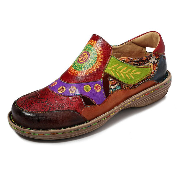 Vintage Flat Shoes Women 2018 Genuine Leather Bohemian Jacquard Patchwork Flats Retro Casual Ladies Shoes Woman