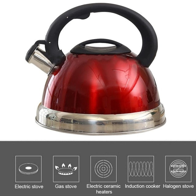 3L Stainless Steel Whistling Kettle  Induction Cooker Tea Kettle Gas Stove Tea Pot Kitchen Cooking Tools For Home Camping
