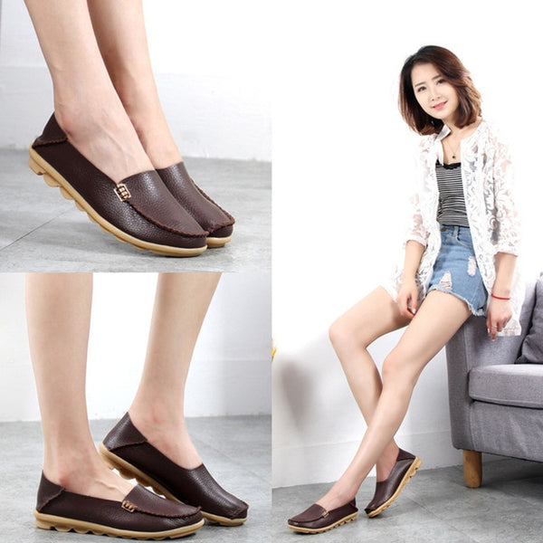 Women Shoes Plus Size Flat Shoes Women Genuine Leather Loafers Nurse Slip On  Women Flat Oxford Sapato Feminino Ballet Flats