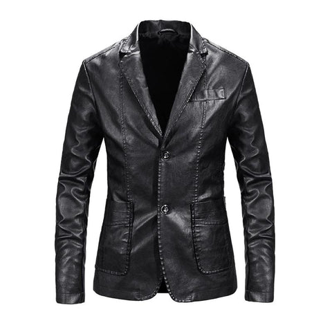 2020 New Men's Motorcycle Jacket Leather Jacket Men  Faux Leather Men Leisure Suits Leather Jacket Business Solid Punk Style