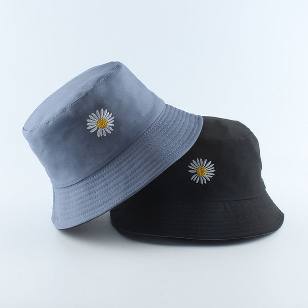 2020 Spring Women Fishing Bucket Hats Summer Sunscreen Sun Cap Flower Daisies Embroidery Reversible Fisherman Hat