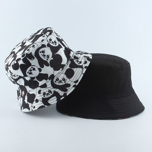 2020 New Fashion Reversible Black White Cow Print Bucket Hat Summer Sun Caps For Women Men Fisherman Hat