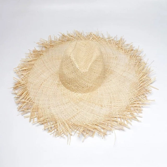 NEW Handmade Women Straw Sun Hats Large Wide Brim Gilrs High Quality Natural Raffia Panama Beach Straw Sun Caps For Holiday