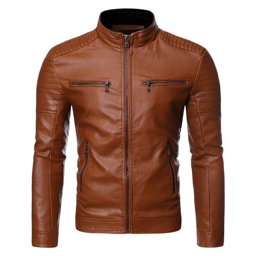 Men's Euramerican Casual Stand Collar Motorcycle Leather Jacket