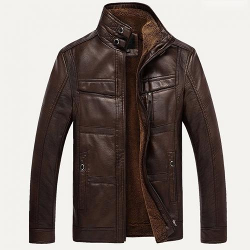 Men Long Sleeve Stand Collar Faux Leather Fleece Lined Zip Warm Short Jacket Men's solid color zippered high neck jacket