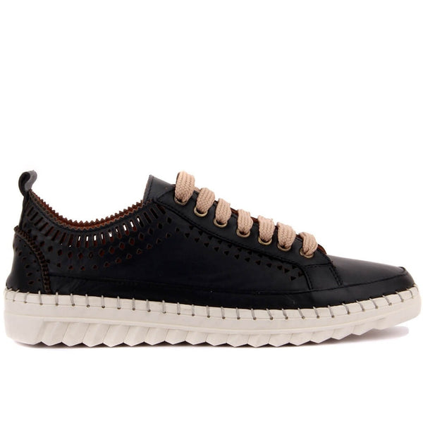 Sail-Lakers Black Leather Women Casual Shoes