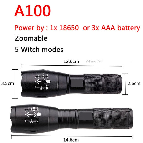 XM-L2 8000LM Waterproof Zoomable CREE LED Tactical Flashlight Torch Light for 18650 Rechargeable Battery or AAA LED Bulbs T6 8W
