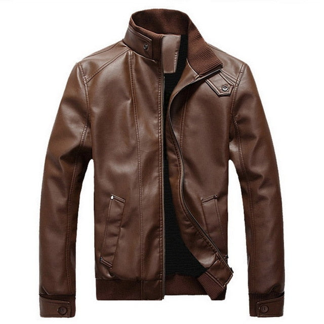 CYSINCOS 2020 Winter Autumn Male Motorcycle Leather Jacket Plus Size Black Brown Mens Stand Collar Coats Leather Biker Jackets