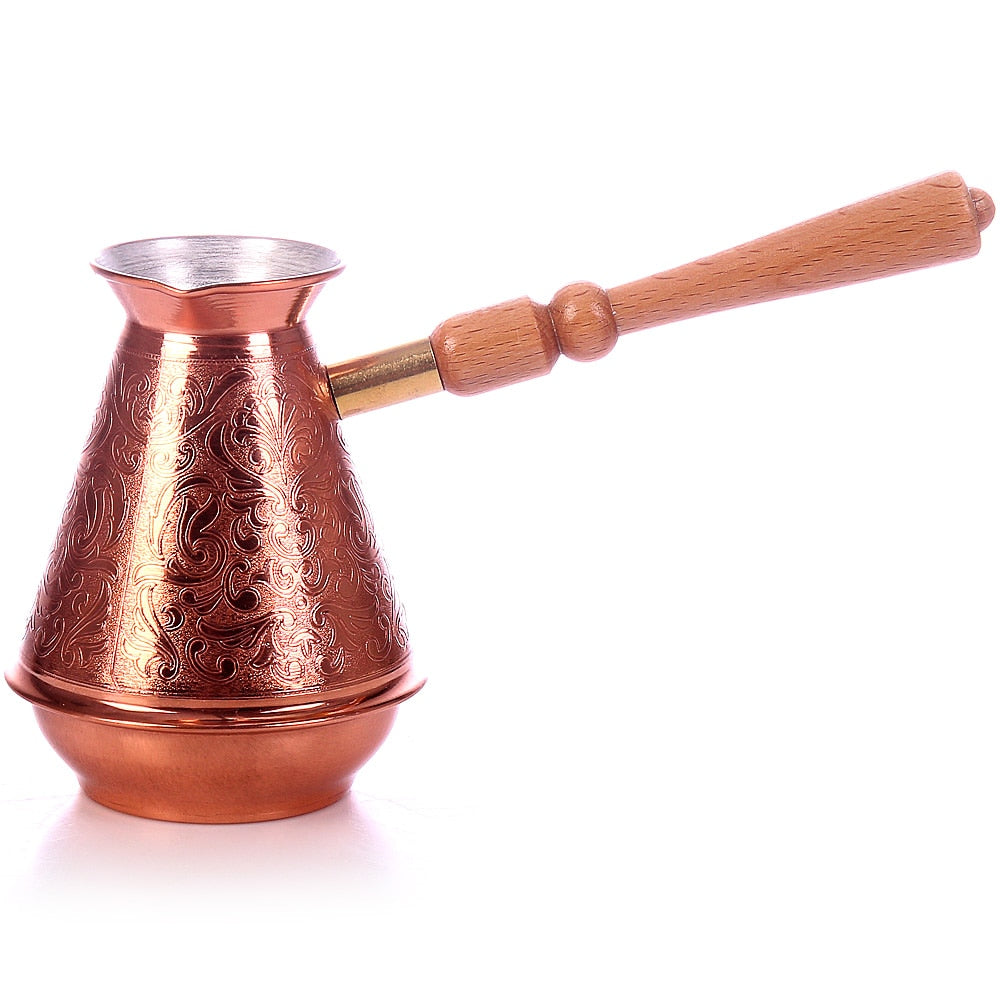 TURK COFFEE COPPER TIMA with wooden handle 700 ml.