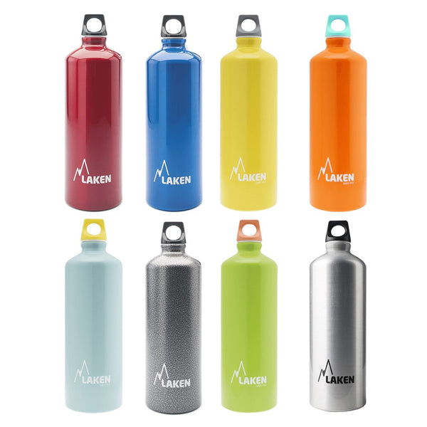LAKEN future water botle Reusable 1L - 1,5L aluminum with pointed mouth-very light Close airtight-Colores