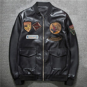 Plus Size XXXL Mens Leather Jacket and Coats US Style Brand Air Mans Bomber Jacket Male Epaulet Patch Design Man Streetwear A549