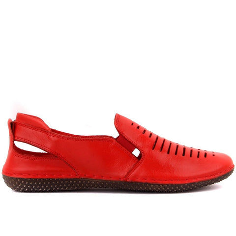 Sail Lakers-Red Leather Women Casual Shoes