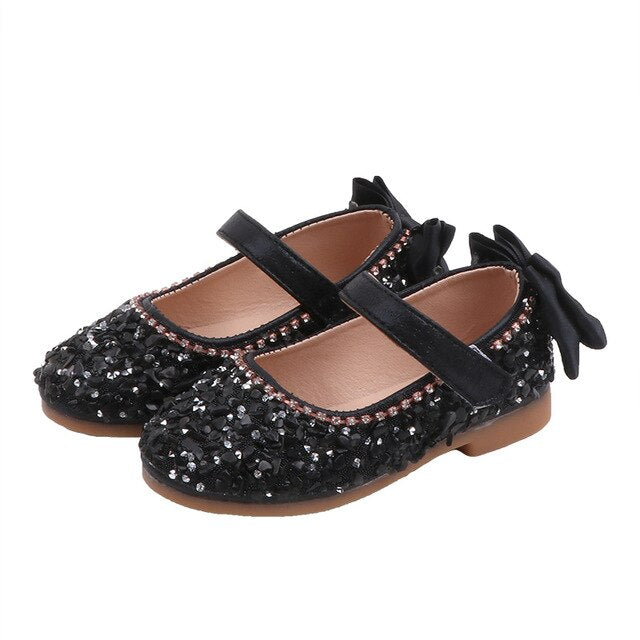 Spring Girls Shoes Princess Fashion Rhinestone Bowtie Flat Casual Leather Shoes Kids Girls Baby Dancing Shoes SHS017
