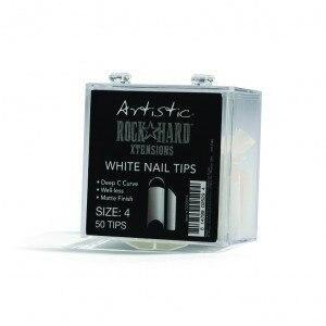 Artistic Rock Hard Xtentions White Nail Tips 50ct Size 4