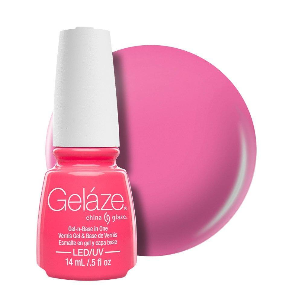 China Glaze Gelaze Gel & Base 14ml - Shocking Pink
