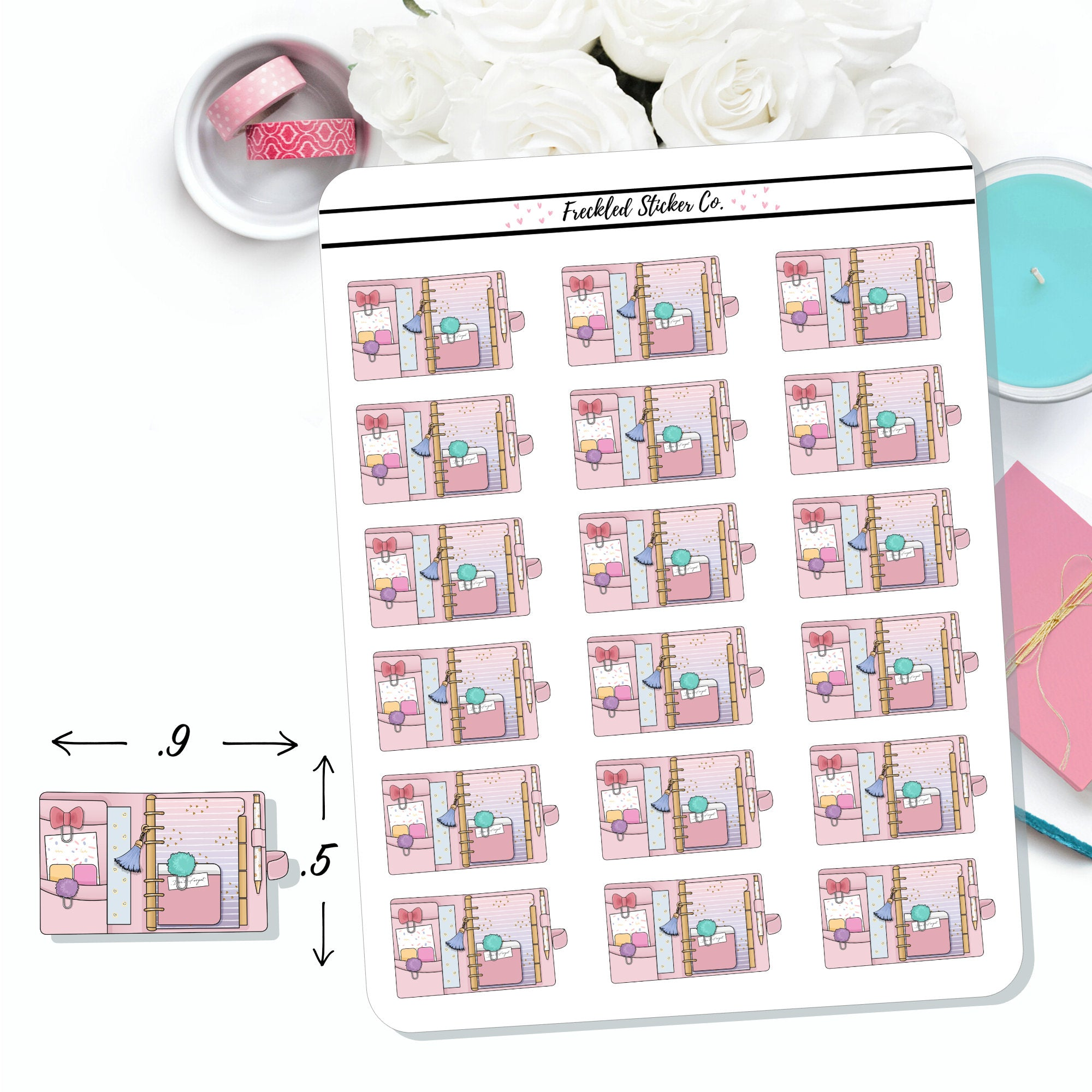 Pink Rings Planner Stickers