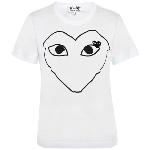 Black Heart Print Ladies T-shirt White