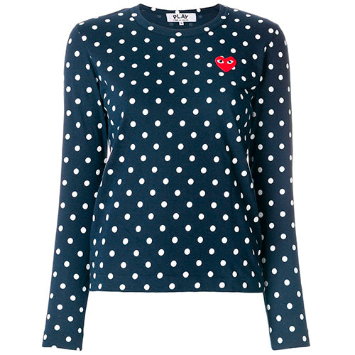 Polka Dot Ladies LS T-shirt Navy