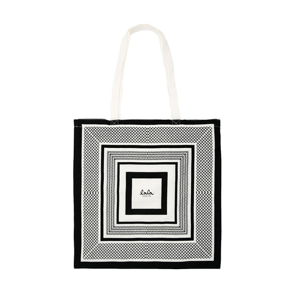 Kufiya Cotton Bag  BLACK WHITE