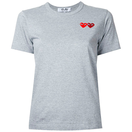 Double Heart Ladies T-Shirt Grey