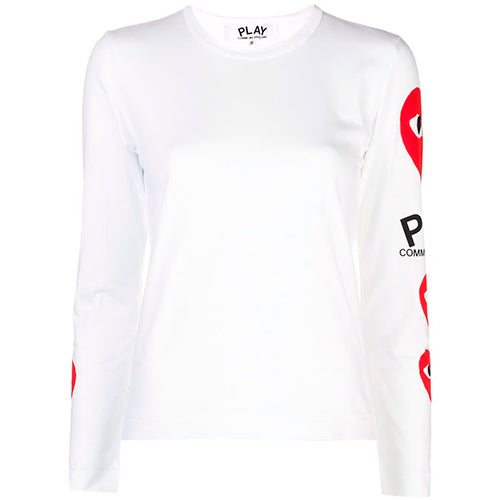 Play 3 Heart Sleeve T-shirt Ladies WHITE