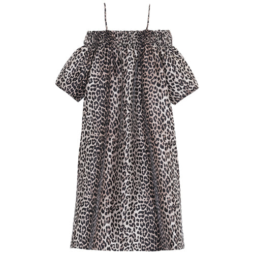 Off-shoulder Smock Dress Leopard