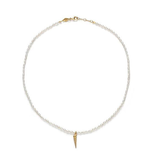 Turret Shell & Pearl Necklace Gold