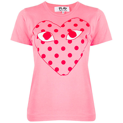 Polka Dot Heart Print Ladies T-shirt Pink