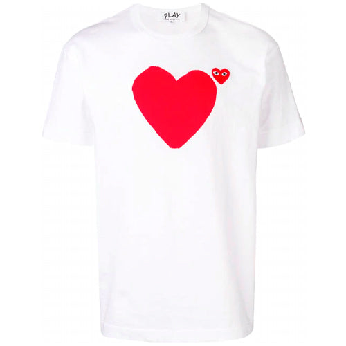 Red Heart Print T-shirt WHITE