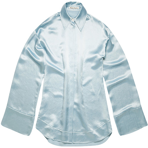 Suzette Fluid Satin Shirt Powder Blue