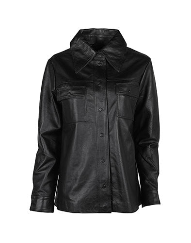 Rosalee LS Leather Shirt Black