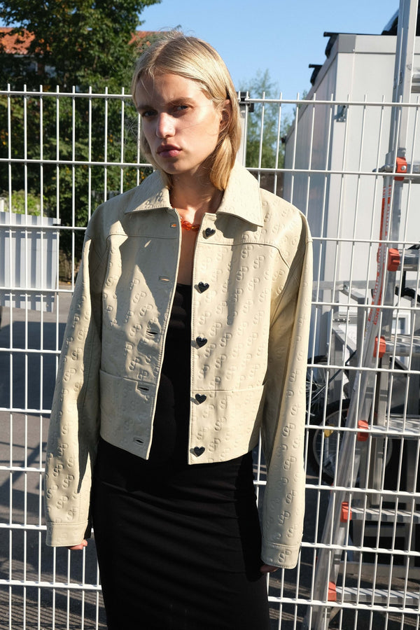 Perla Leather Jacket Beige