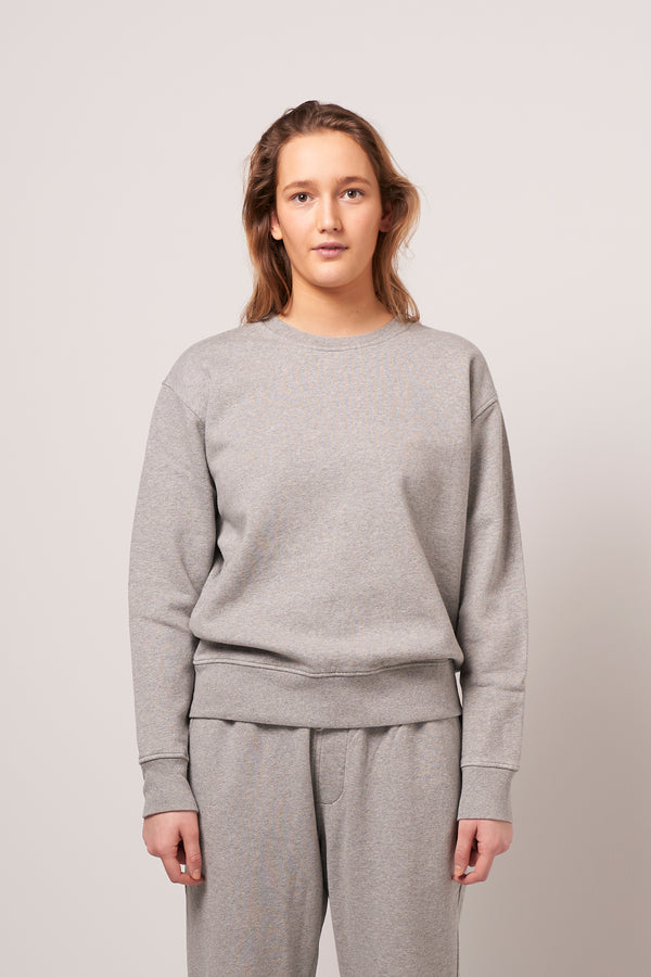 Women Classic Organic Crewneck Heather Grey