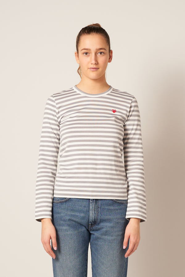 Striped Small Heart Ladies LS T-Shirt Grey