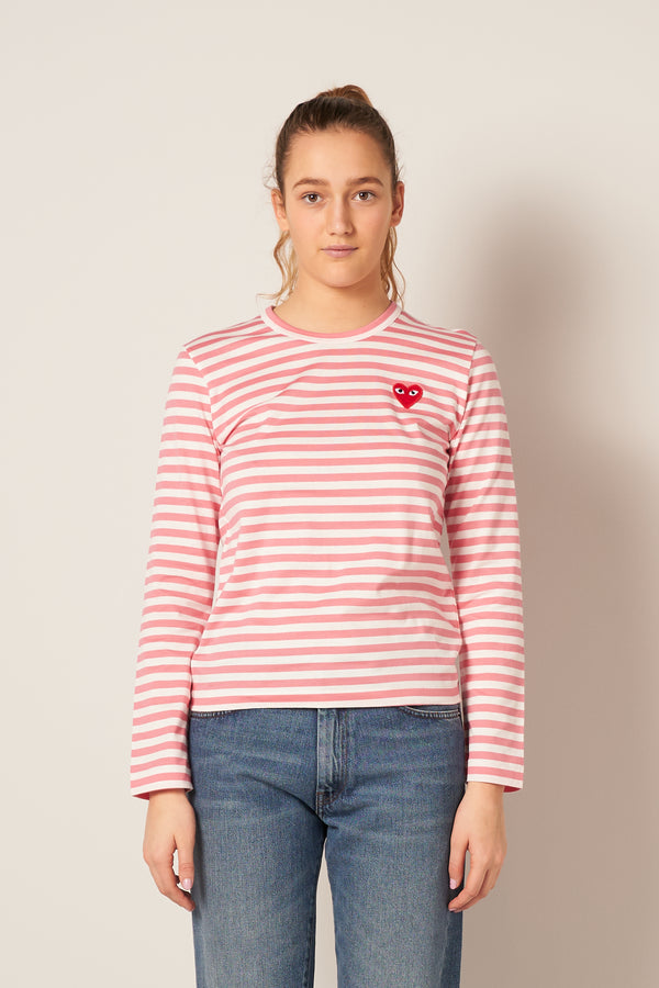 Striped Ladies LS T-shirt Pink