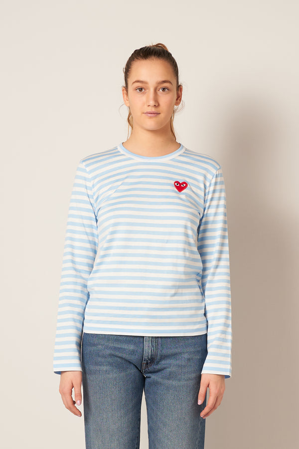 Striped Ladies LS T-shirt Light Blue