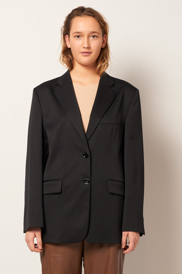 Twill Poly Wool Blazer Black