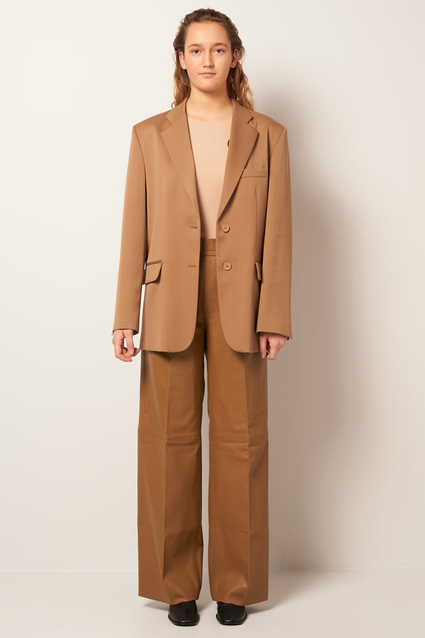 Twill Poly Wool Blazer Brown