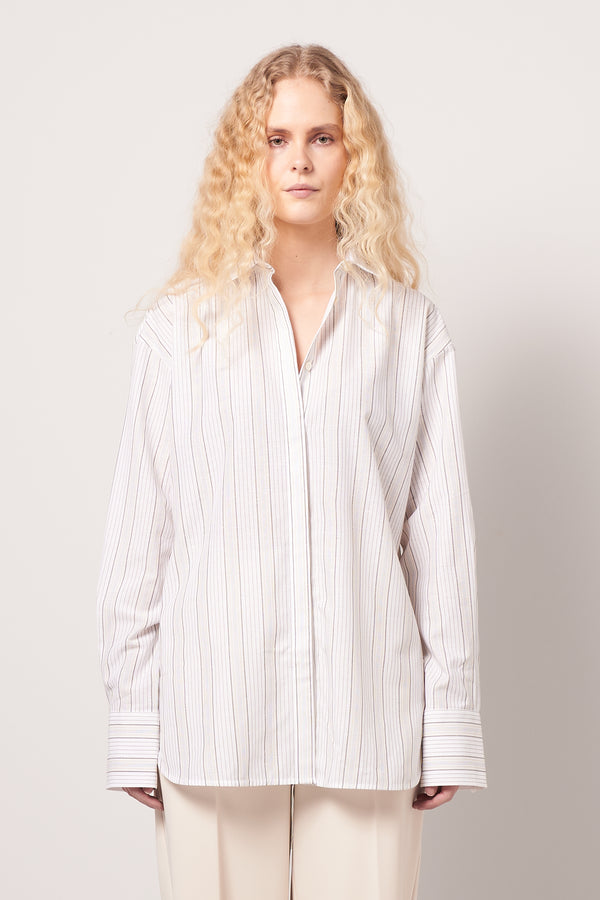 Silk Blend Shirt Beige Stripe