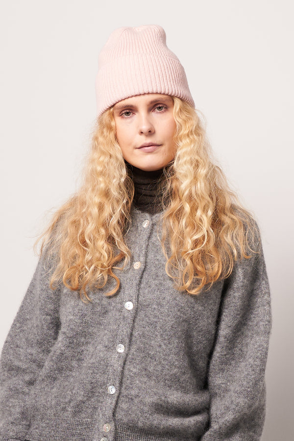 Merino Wool Beanie Faded Pink