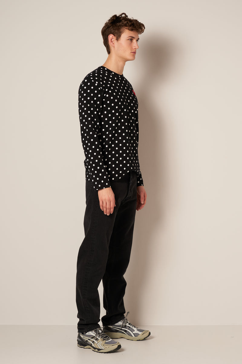 Polka Dot LS T-shirt Black