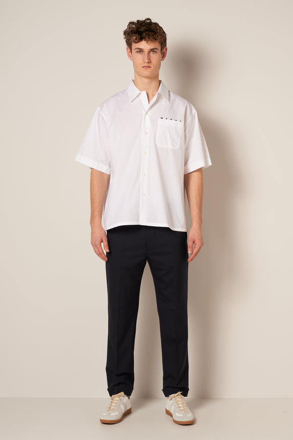 Cotton Bowling Shirt White