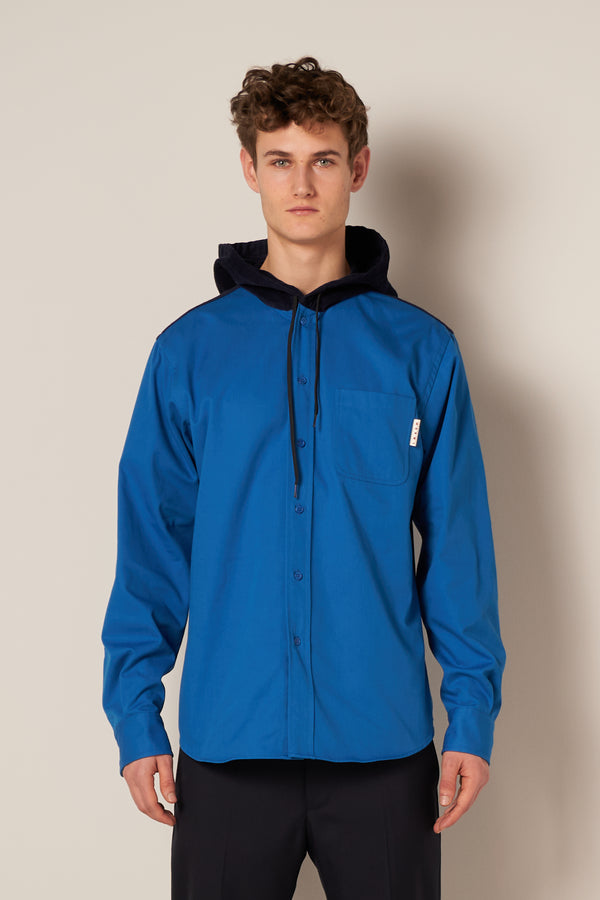 Hooded Overshirt, Blue/Navy