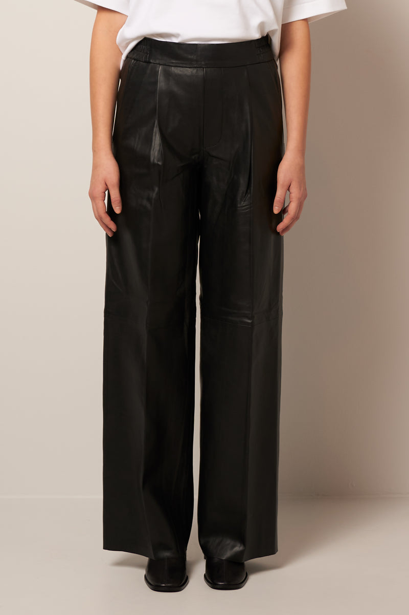 Duchesse Leather Pants Black