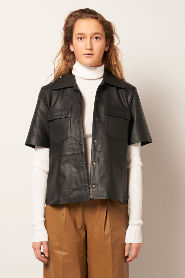 Siena SS Leather Shirt Black