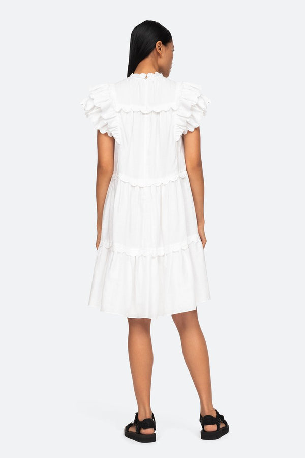 Shannon Ruffle Dress White