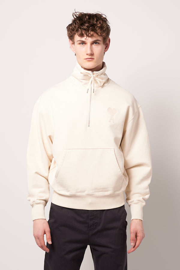 High Zipped Collar Sweat Off White